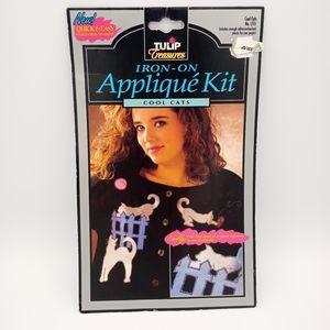Vintage 90's DIY Shiny Cat Appliques Patch